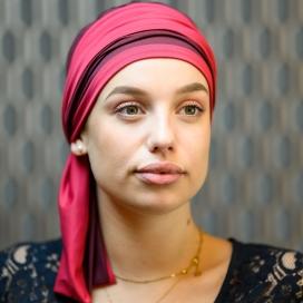 Turban Chimio Hélène Reverse bicolore - Framboise et bordeau - Lookhatme - Rose comme femme