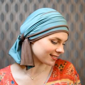 Turban Chimio Hélène Reverse bicolore - Vert chocolat - Lookhatme - Rose comme femme