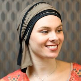 Turban Chimio Hélène Reverse bicolore - Taupe noir - Lookhatme - Rose comme femme