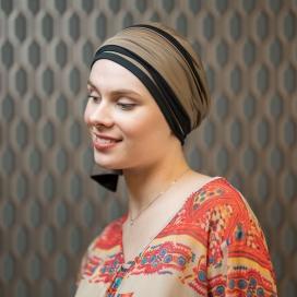 Turban Chimiotherapie Hélène Reverse bicolore - Taupe noir - traitement cancer - radiotherapie - Rose comme femme