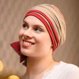 Turban Chimio Hélène Reverse bicolore - Taupe rouge - Lookhatme - Rose comme femme