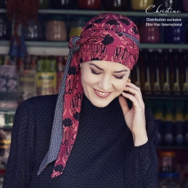 Turban Foulard chimio bambou Alhambra - cancer - christine headwear - rose comme femme