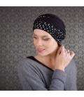 Bonnet turban chimio bambou NADIA - noir à pois blanc
