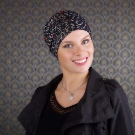chapeau chimio hiver - masquer perte cheveux - traitement cancer- ablation sein - Rose comme femme