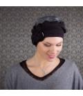 Bonnet chimio Jules en Bambou – Noir et gris