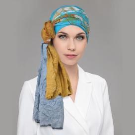 TIP Bonnet bleu azur + foulard chimio