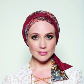 Turban chimio long MADRID - ETHNIQUE ROUGE