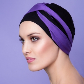 Bonnet Kenaya violet et noir