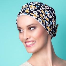 Bonnet Lounia noir et fleur jaune et bleu