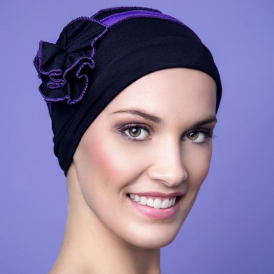 bonnet chimio b atrice violet et noir alop cie. Black Bedroom Furniture Sets. Home Design Ideas